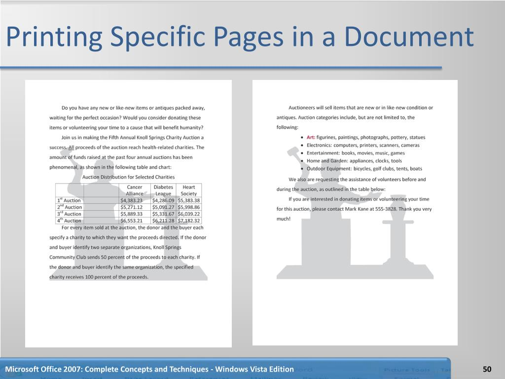 Printing Specific Pages in a Document