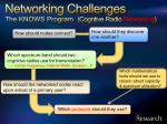 networking challenges the knows program cogntive radio networking