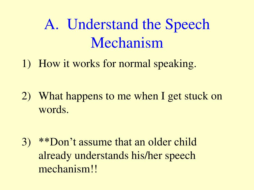 A.  Understand the Speech Mechanism
