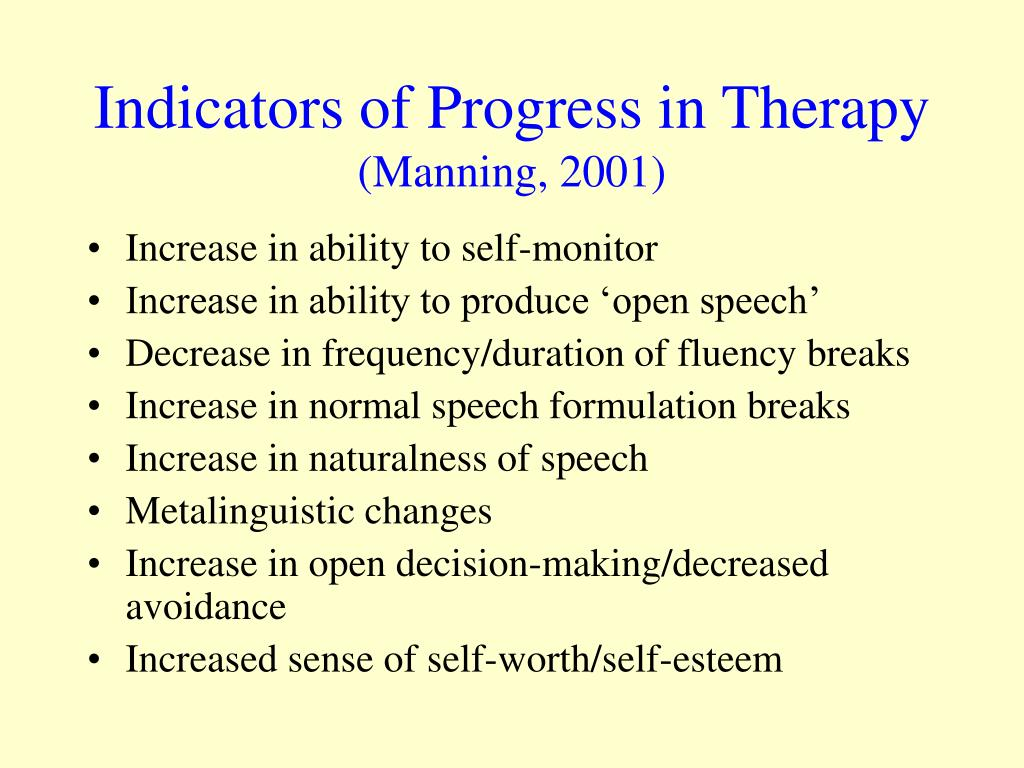 Indicators of Progress in Therapy
