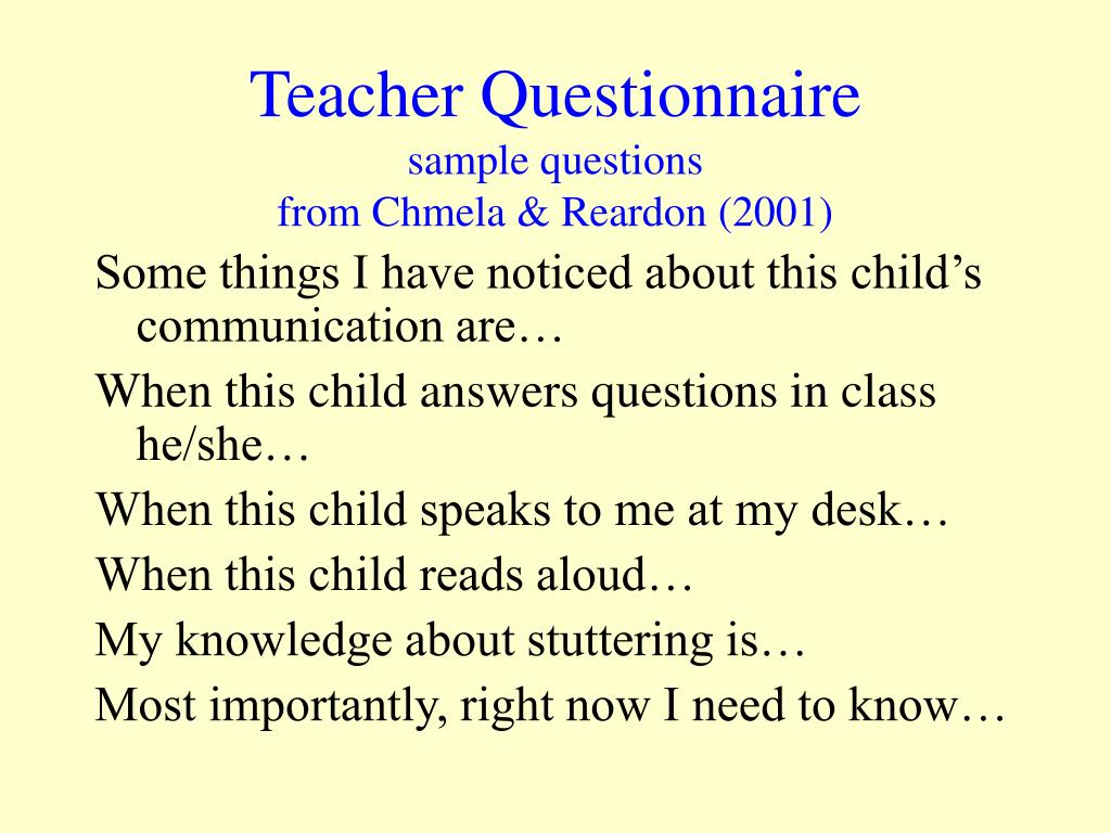 Teacher Questionnaire