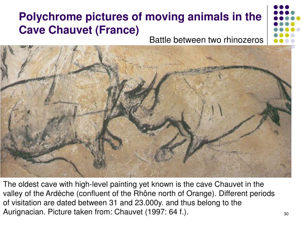 Polychrome pictures of moving animals in the Cave Chauvet (France)