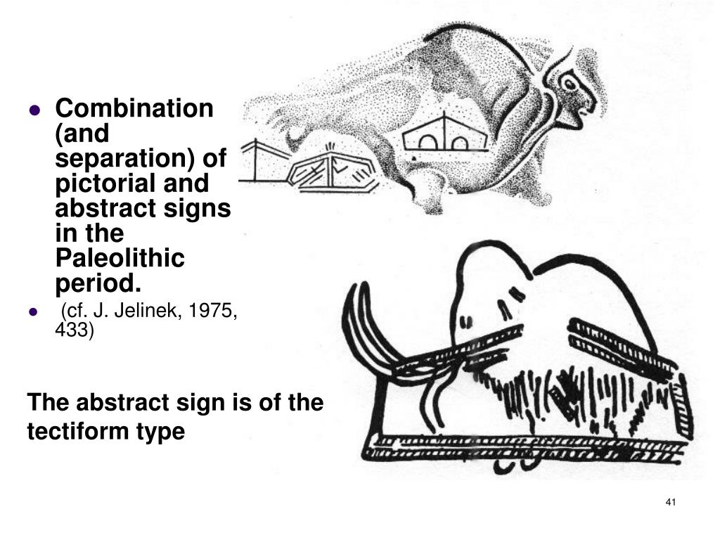 Combination (and separation) of pictorial and abstract signs in the Paleolithic period.