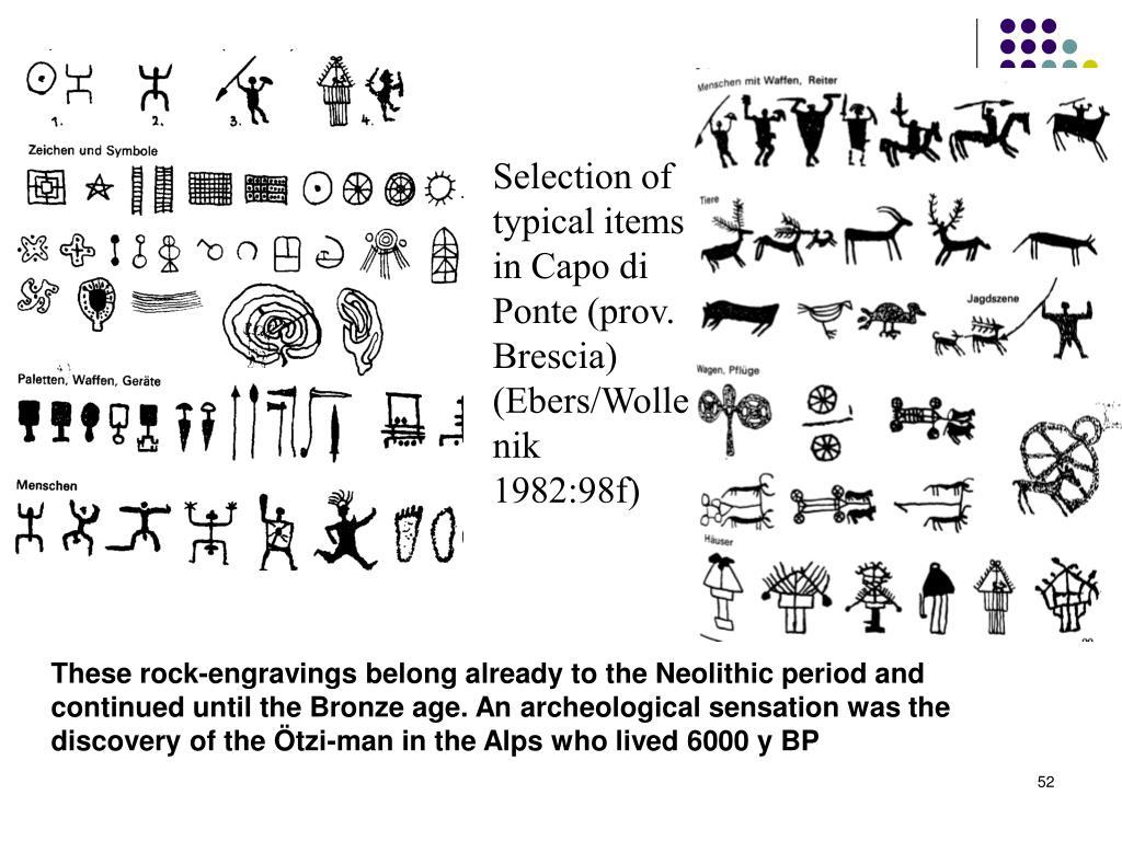 Selection of typical items in Capo di Ponte (prov. Brescia)