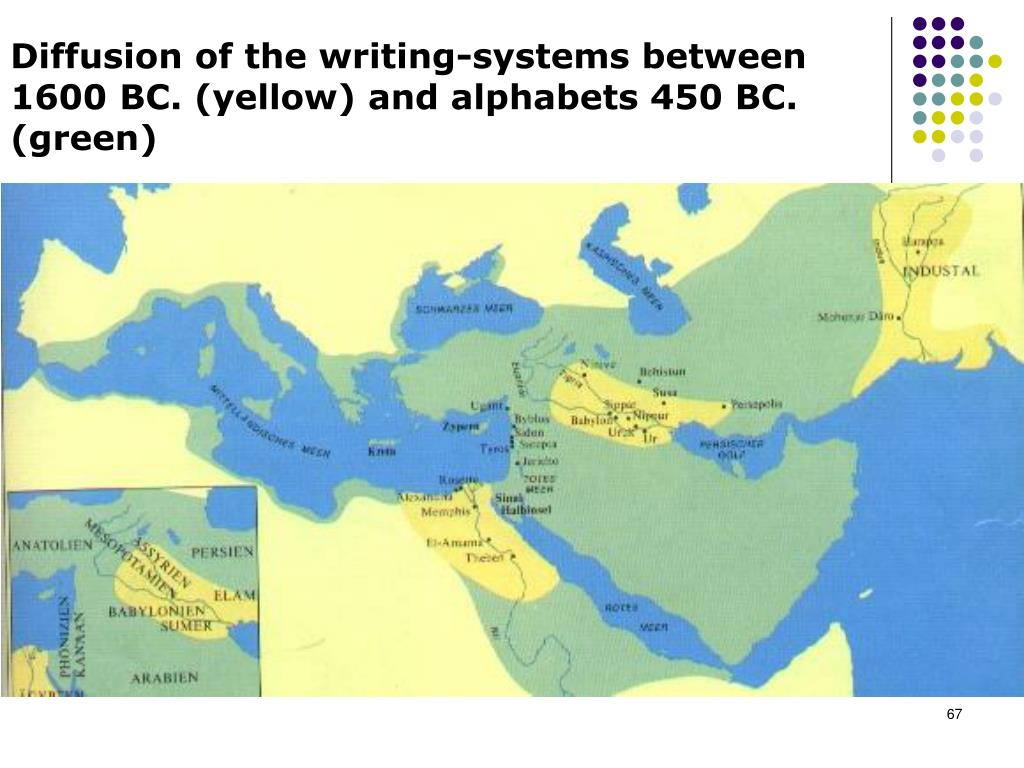 Diffusion of the writing-systems between 1600 BC. (yellow) and alphabets 450 BC. (green)