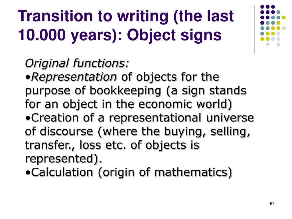 Transition to writing (the last 10.000 years): Object signs