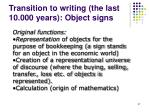 transition to writing the last 10 000 years object signs