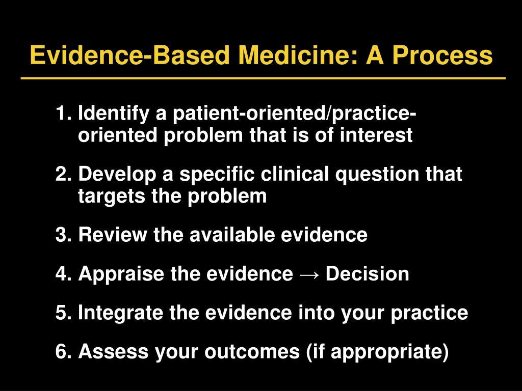 Evidence-Based Medicine: A Process