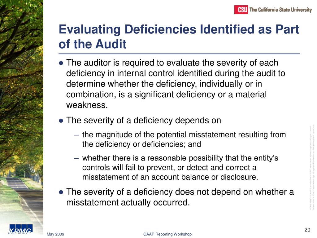 Evaluating Deficiencies Identified as Part of the Audit