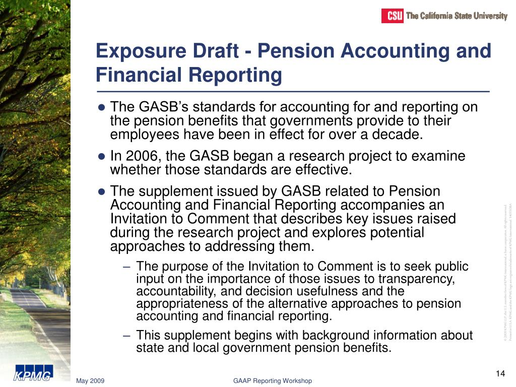 Exposure Draft - Pension Accounting and Financial Reporting