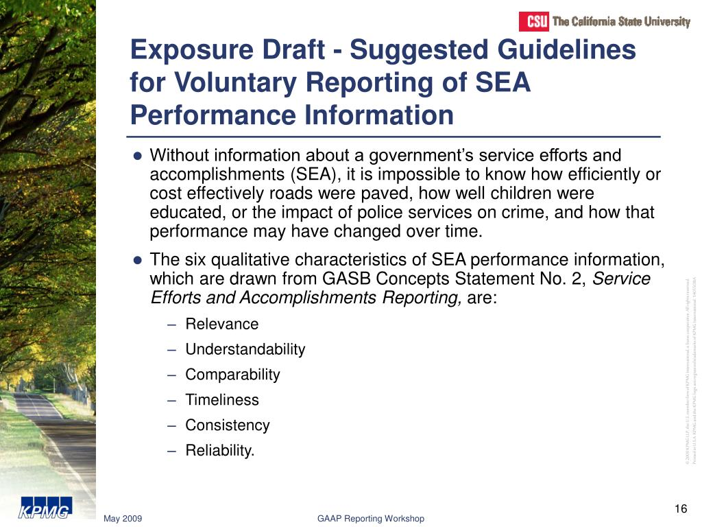 Exposure Draft - Suggested Guidelines for Voluntary Reporting of SEA Performance Information