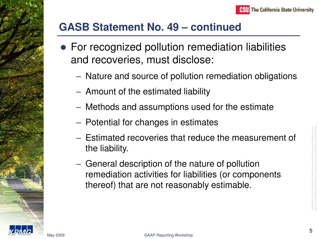 GASB Statement No. 49 – continued