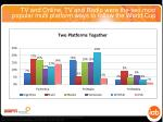 tv and online tv and radio were the two most popular multi platform ways to follow the world cup
