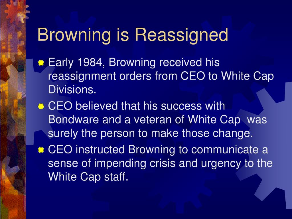 peter browning case Peter browning was promoted to the position of vice-president of continental  it  is obvious by reading the case that continental group, inc managed their.