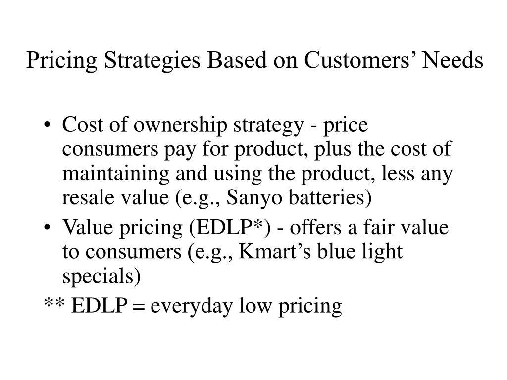 Pricing Strategies Based on Customers' Needs
