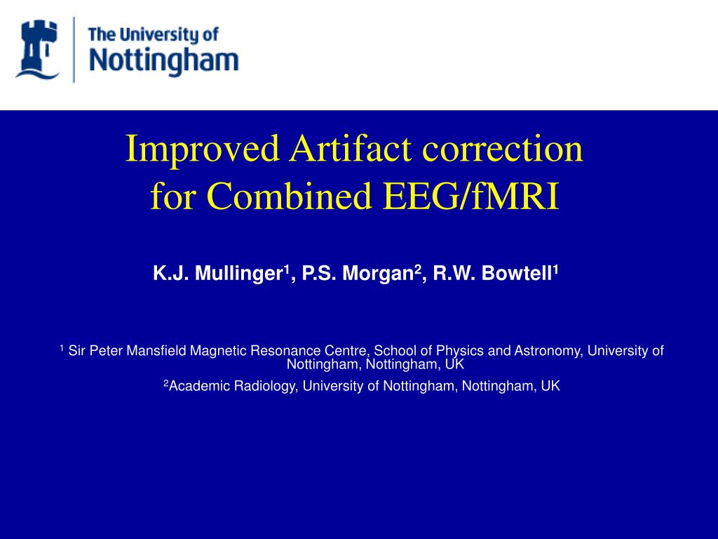 improved artifact correction for combined eeg fmri l.