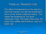 temp vs reaction rate