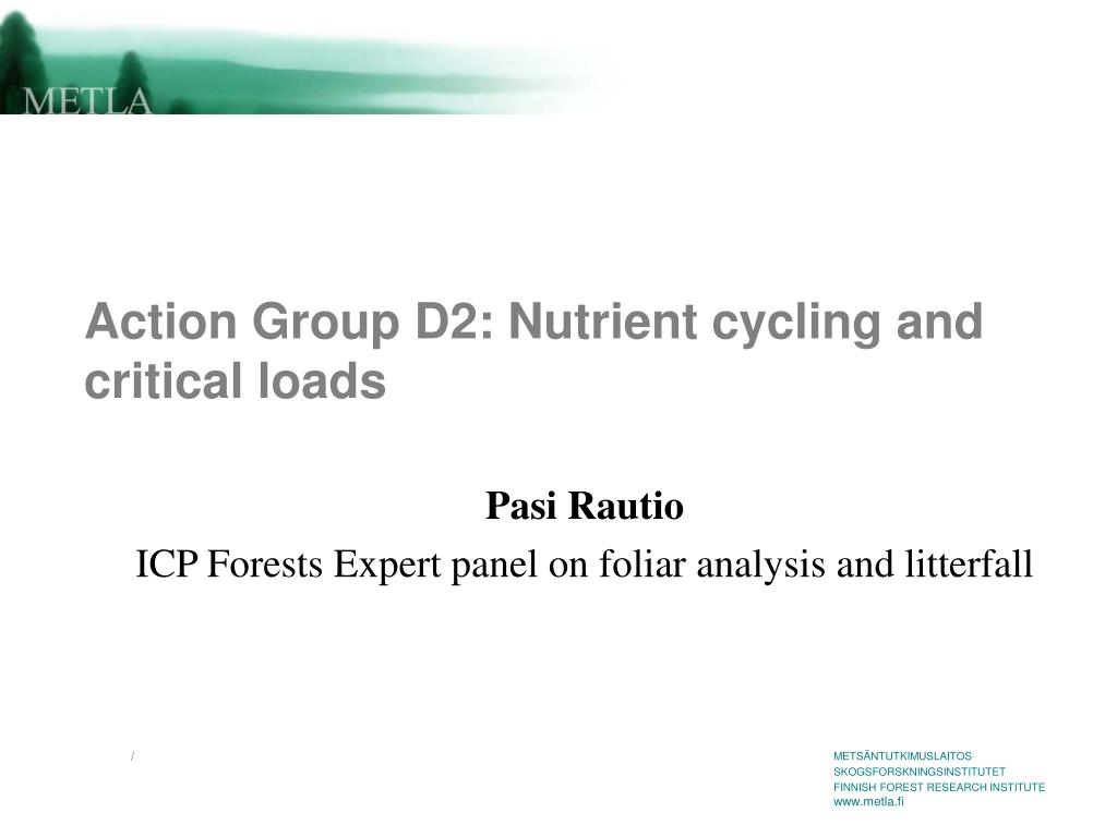 action group d2 nutrient cycling and critical loads l.