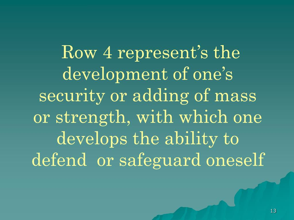 Row 4 represent's the development of one's security or adding of mass or strength, with which one develops the ability to defend  or safeguard oneself