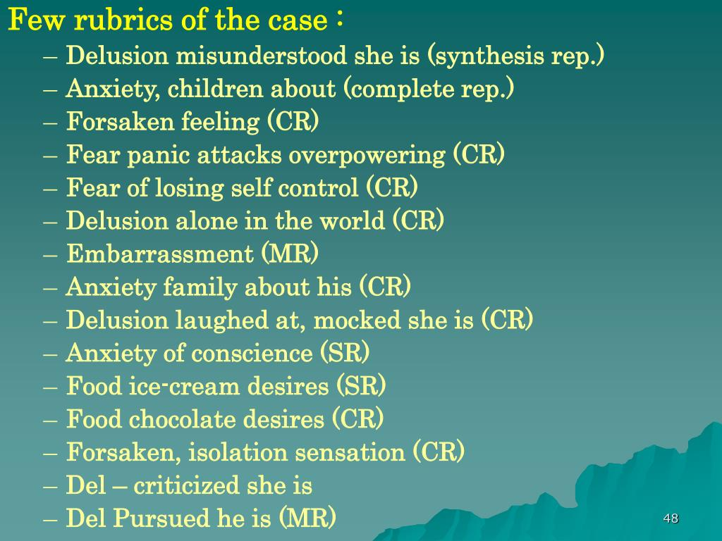 Few rubrics of the case :
