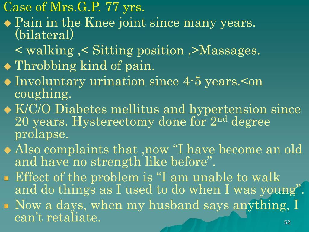 Case of Mrs.G.P. 77 yrs.