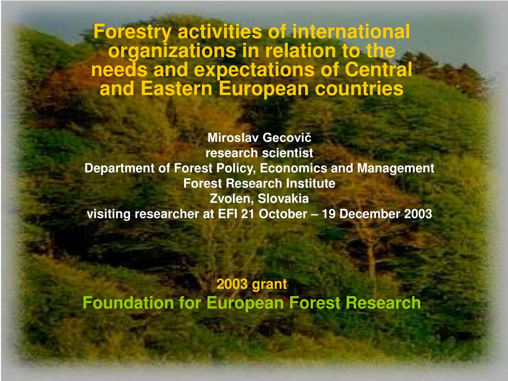 2003 grant foundation for european forest research l.