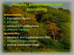 results presentation and availability