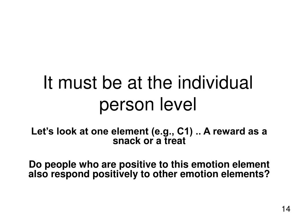 It must be at the individual person level