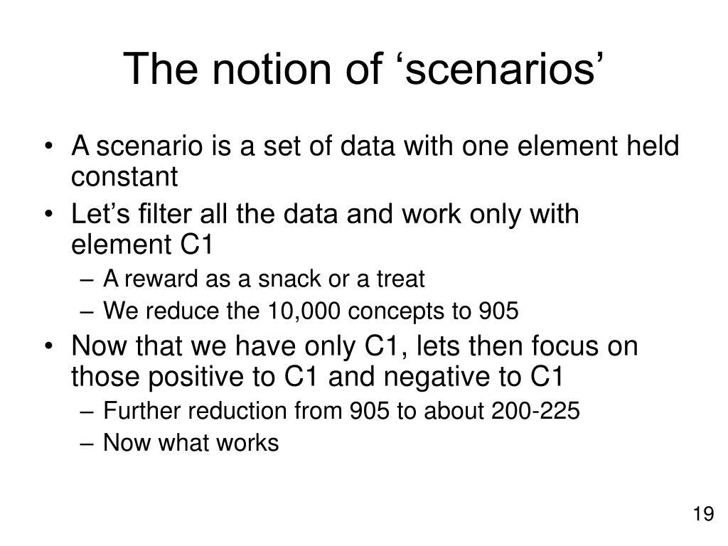 The notion of 'scenarios'
