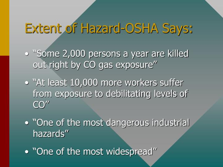Extent of hazard osha says