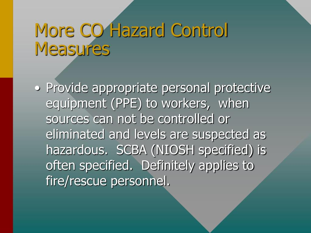 More CO Hazard Control Measures