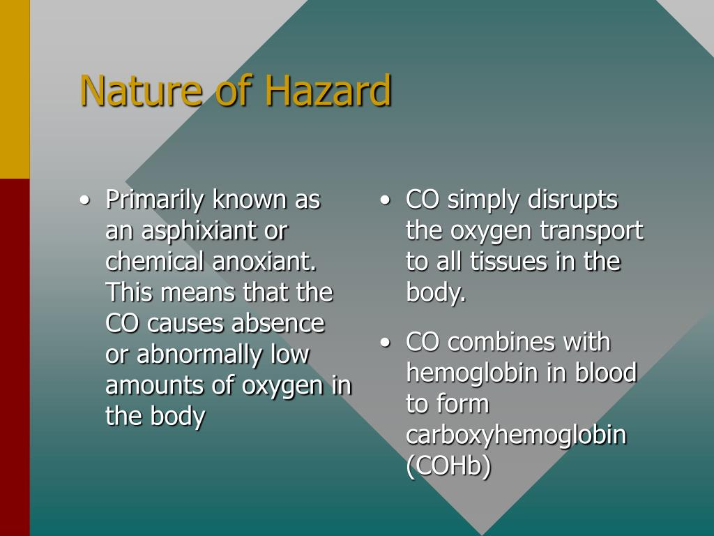 Primarily known as an asphixiant or chemical anoxiant.  This means that the CO causes absence or abnormally low amounts of oxygen in the body