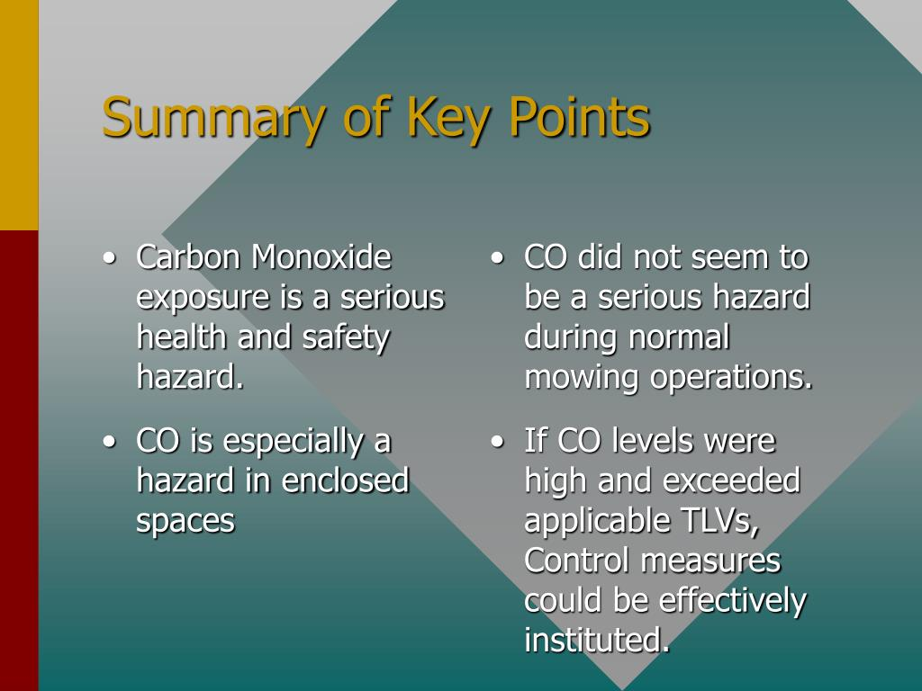 Carbon Monoxide exposure is a serious  health and safety hazard.