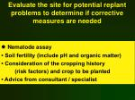 evaluate the site for potential replant problems to determine if corrective measures are needed