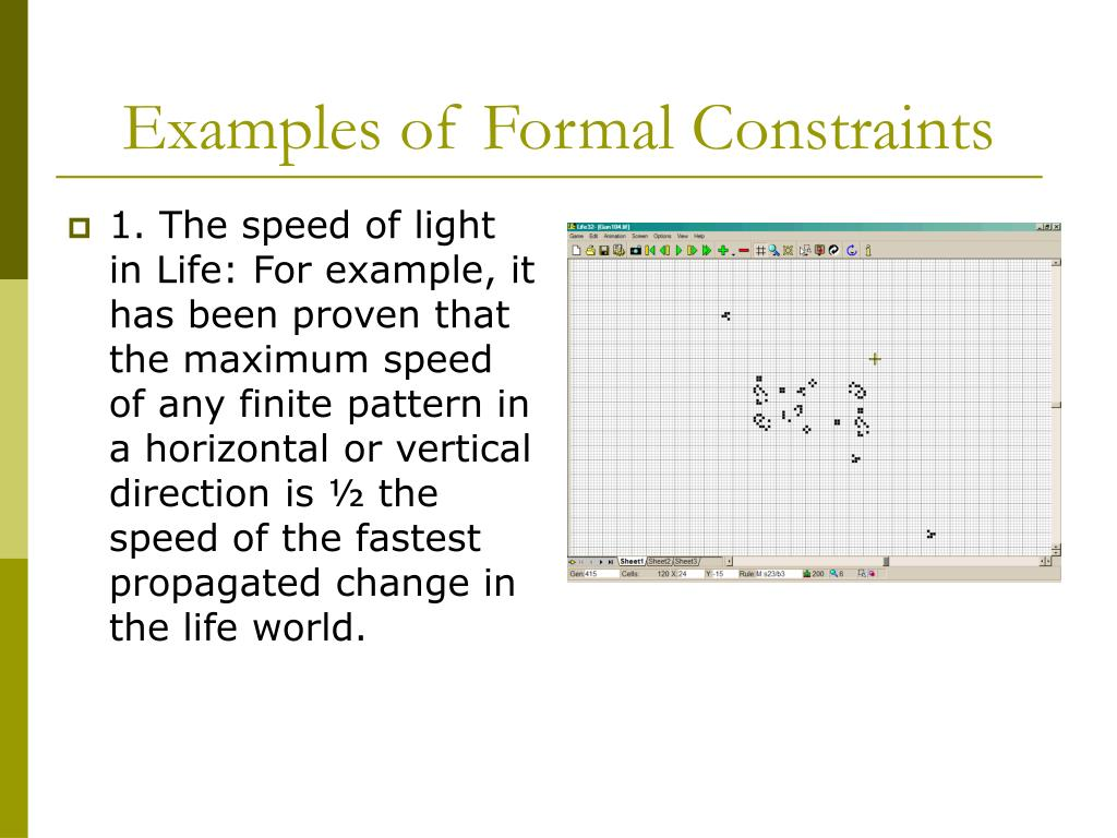 Examples of Formal Constraints
