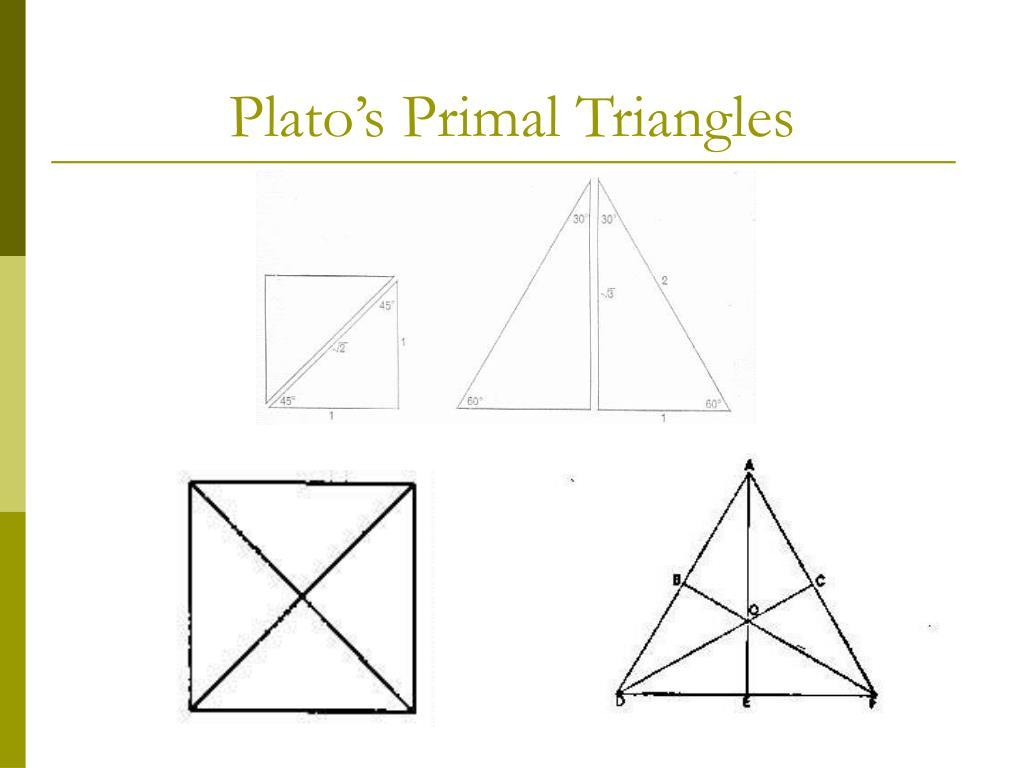 Plato's Primal Triangles