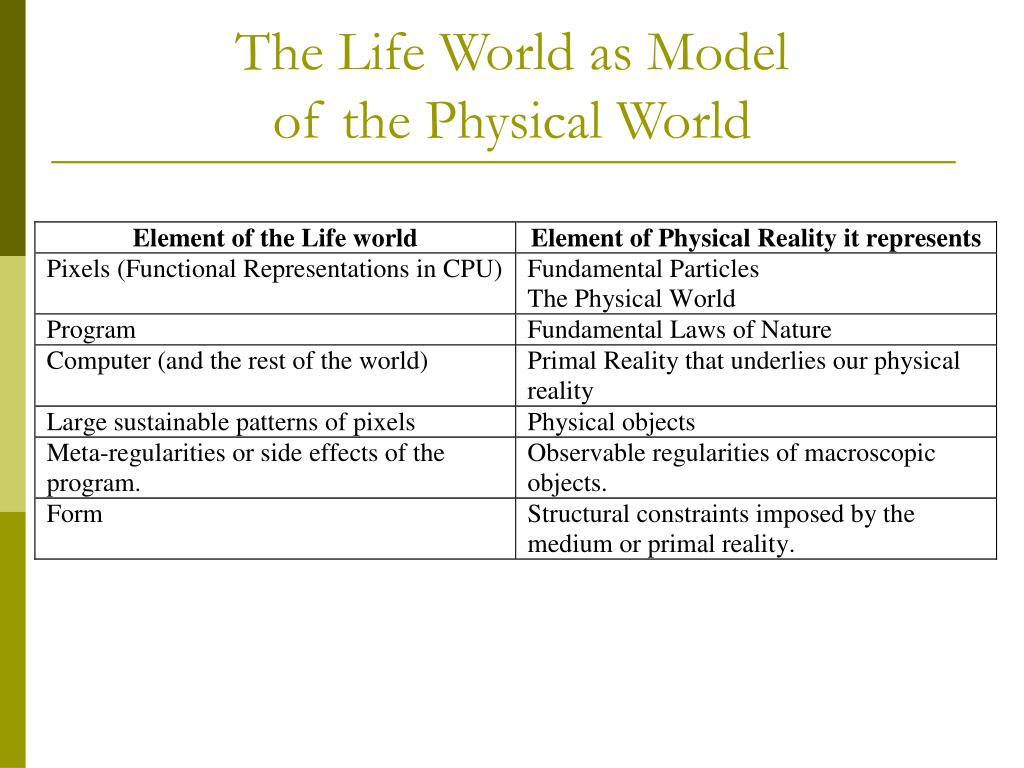 The Life World as Model