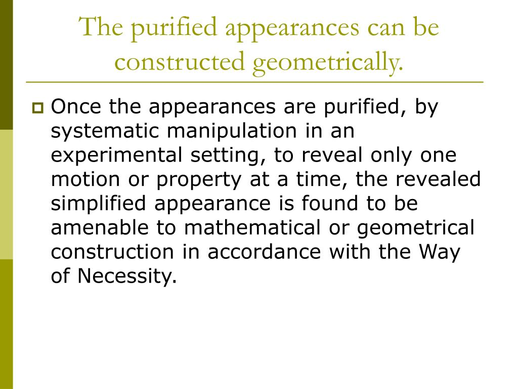 The purified appearances can be constructed geometrically.