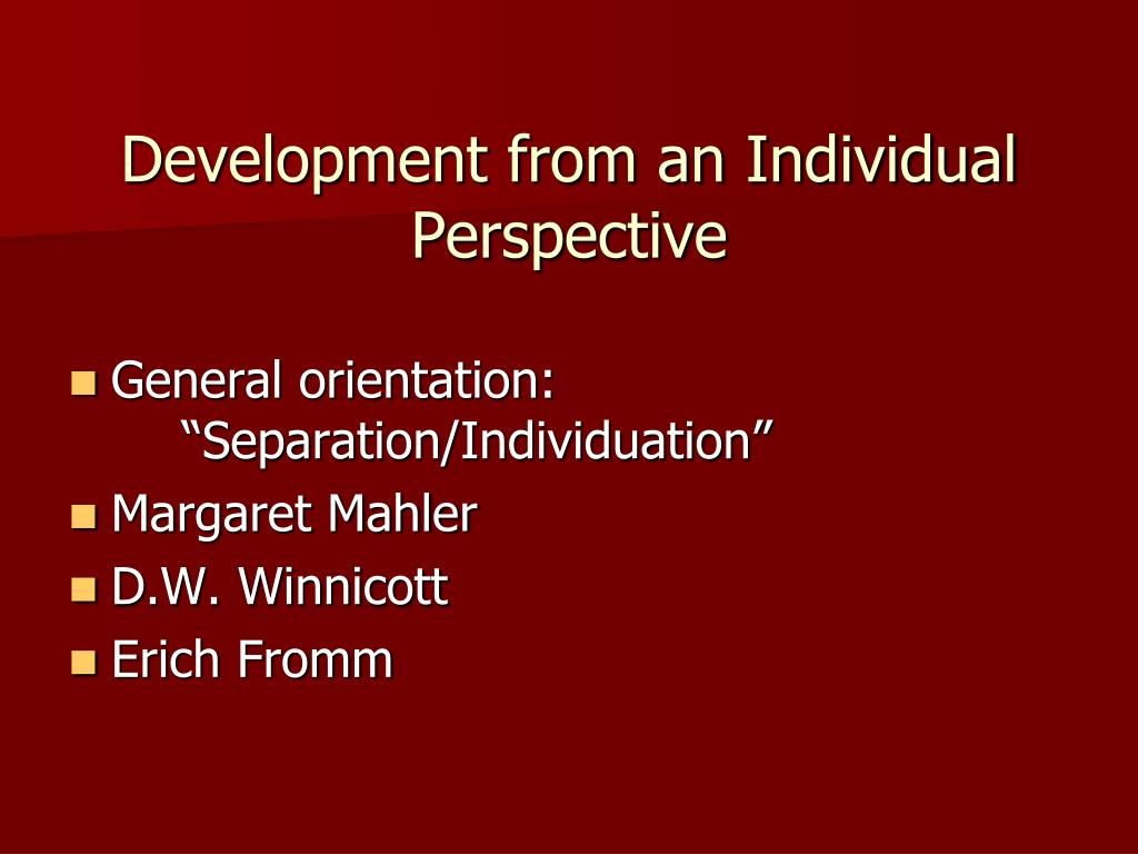 Development from an Individual Perspective
