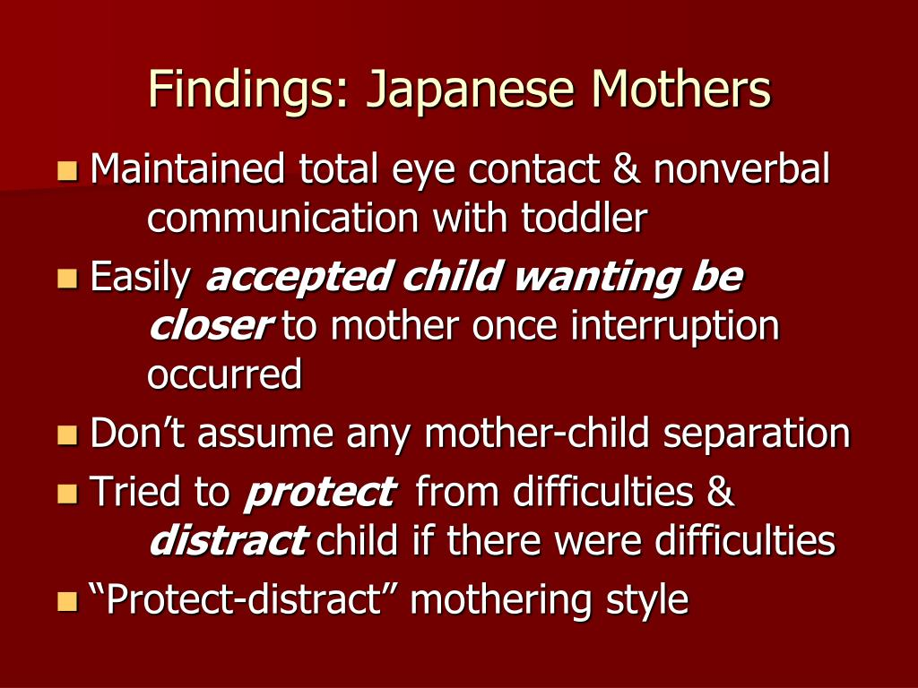 Findings: Japanese Mothers