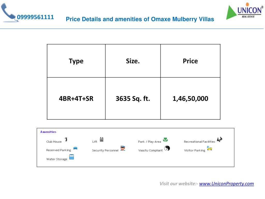 Price Details and amenities of