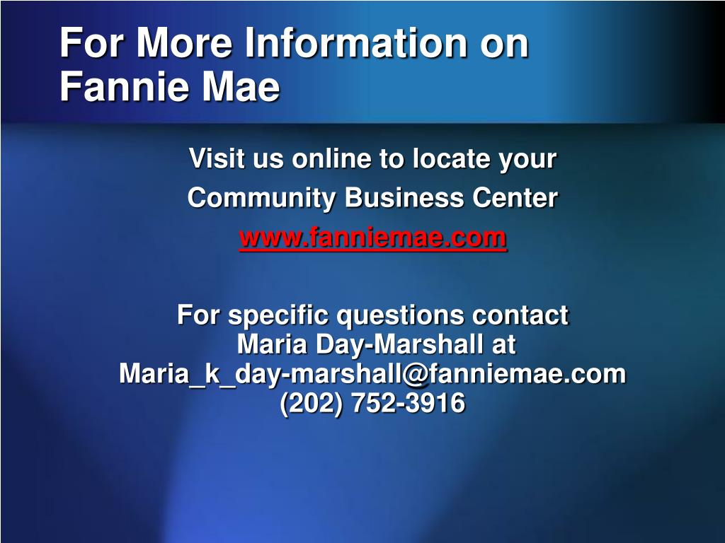 For More Information on Fannie Mae