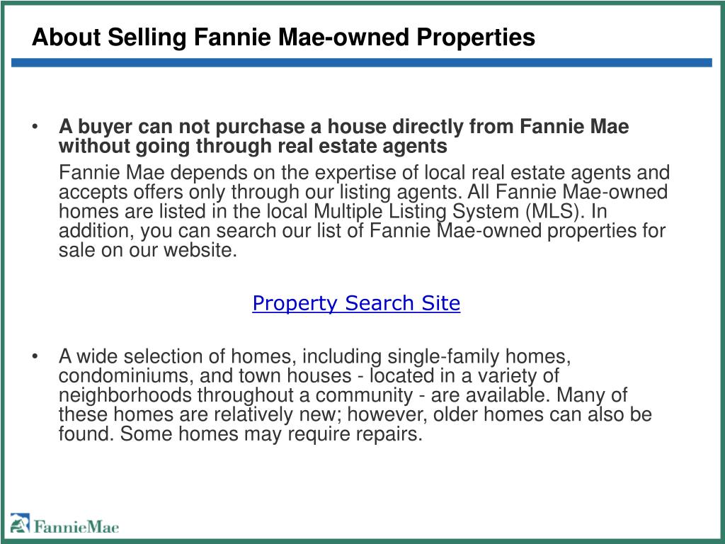 About Selling Fannie Mae-owned Properties