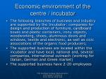 economic environment of the centre incubator
