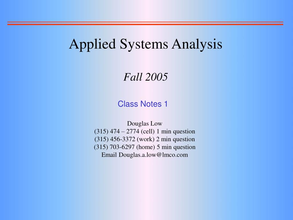 Applied Systems Analysis