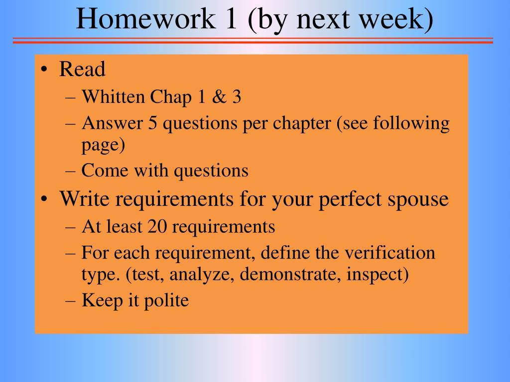 Homework 1 (by next week)