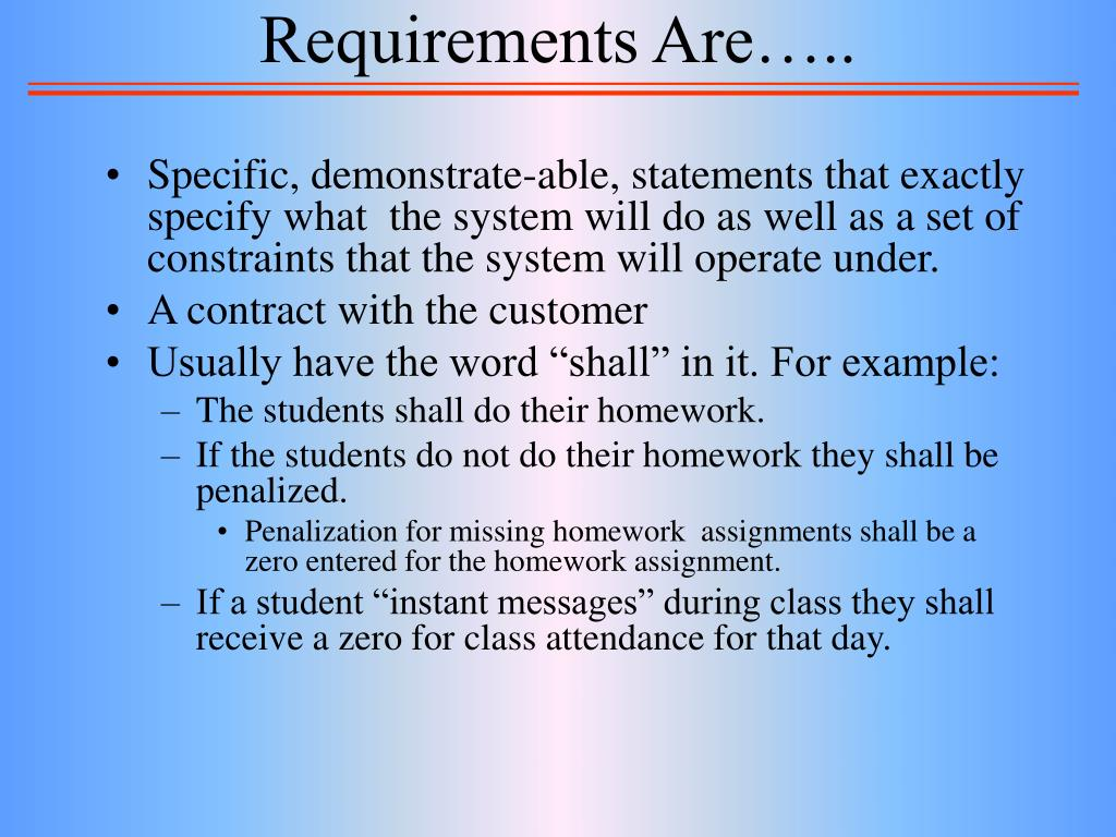 Requirements Are…..