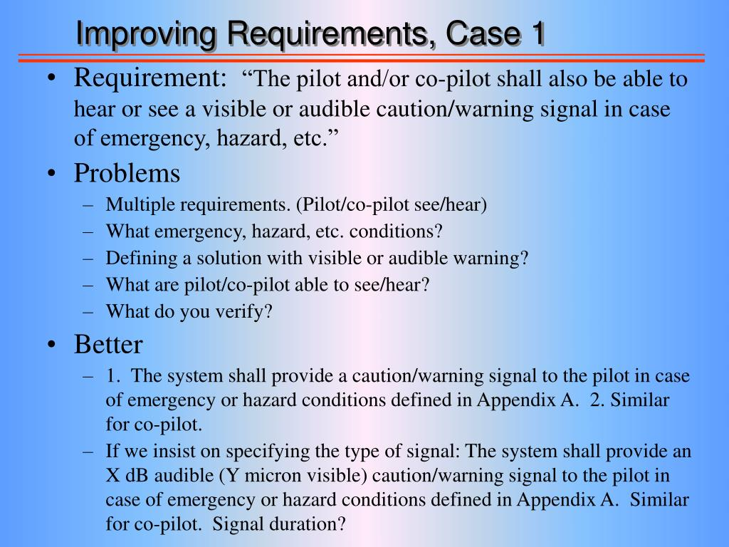 Improving Requirements, Case 1