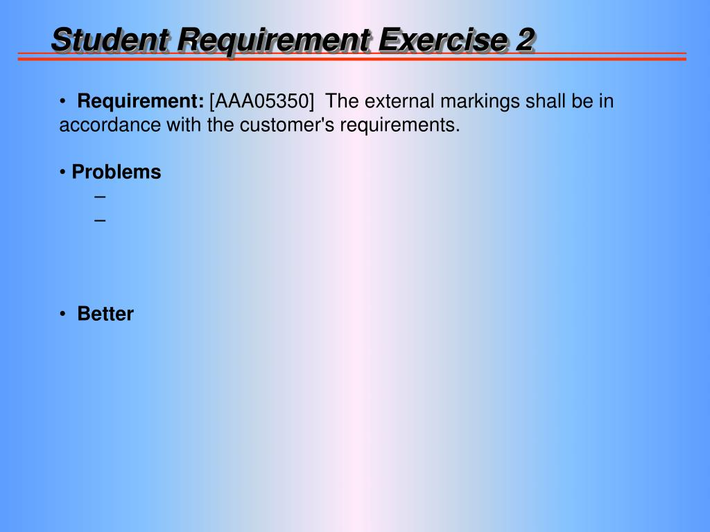 Student Requirement Exercise 2