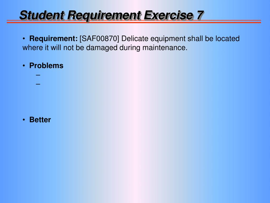 Student Requirement Exercise 7